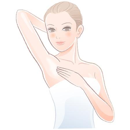 Portret van mooie vrouw aan te raken haar onderarm Bestand bevat verlopen, transparantie, Blending tooll uitgebreid Stock Illustratie