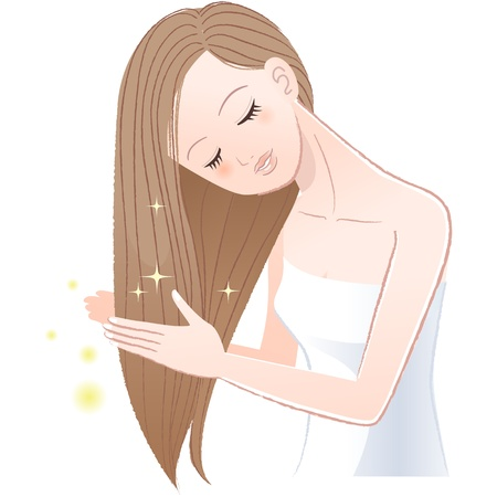Young pretty woman stroking her shiny long hair The file contains Gradients