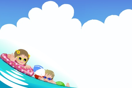 swimming goggles: Children enjoying bath time.File contains Gradients, Gradient Mesh, Envelope Distort.