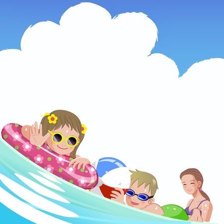 Family with children at sea on summer holiday.File contains Gradients, Gradient Mesh, Envelope Distort. Vector