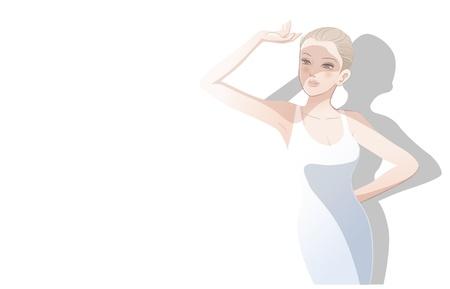 uv: Hermosa mujer con su mano sobre sus ojos, protegi�ndose la cara de rays.File del sol contiene gradientes, herramienta de mezcla, las m�scaras de recorte. Vectores