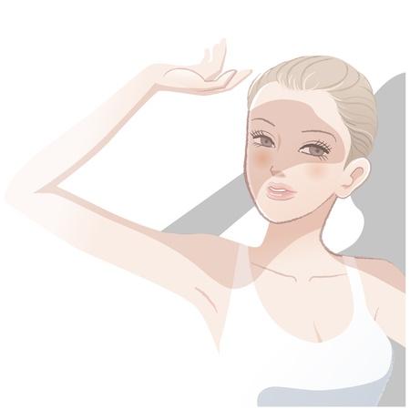 Bastante joven mujer protegiéndose los ojos de sunlight.File brillante contiene gradientes, herramienta de mezcla, las máscaras de recorte.