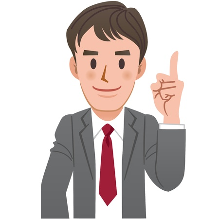 Businessman pointing upwards with index finger on white background.