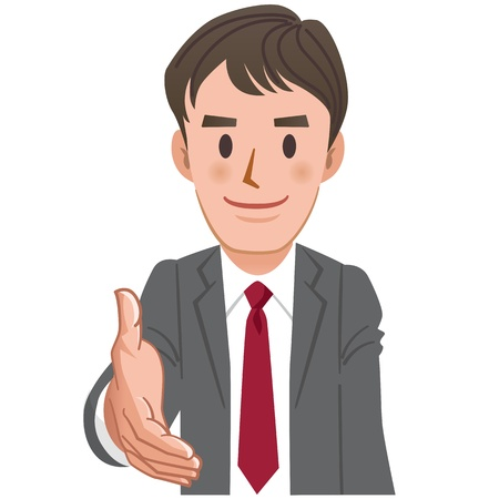 one young man: Cartoon Businessman extending  for a handshake.File contains Transparent. Illustration