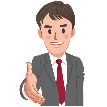 one young man: Cartoon businessman handshake with toothy smile. File contains Transparency.
