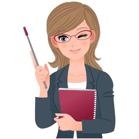 Vrouwelijke docent knipogen met aanwijzer stick.File bevat Verlopen, Blending tool.