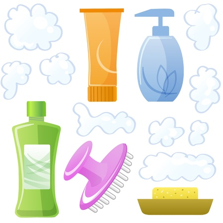 Bottles of body and hair care and beauty products  Shampoo, soap, hair mask, body gel, scalp massage brush and suds File contains Gradients, Transparency, Clipping mask