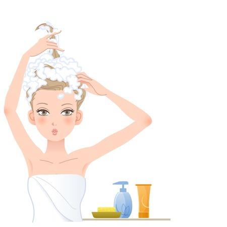 Pretty woman posing funny, soaping her head against white background with copy space File contains Gradients, Blending tool, Transparency Stock Vector - 21572646