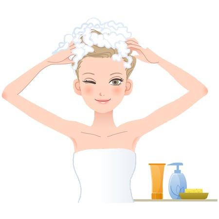 Mooie vrouw inzepen haar hoofd op witte achtergrond Bestand bevat verlopen, Blending tool, Transparantie, het knippen van masker