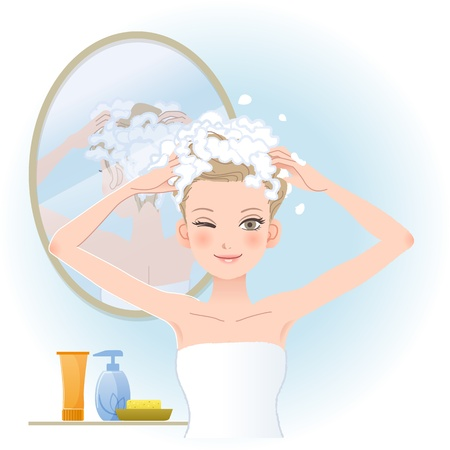 Pretty woman soaping her head with mirror on the back in bathroom.File contains Gradients, Blending tool, Transparency, Clipping mask. Illustration