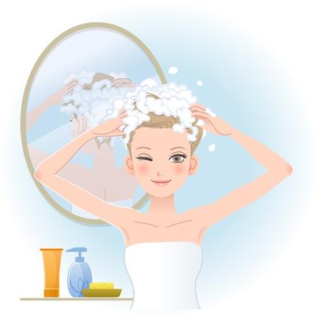 Mooie vrouw inzepen haar hoofd met spiegel op de rug in bathroom.File bevat verlopen, Blending tool, Transparantie, knippen masker.