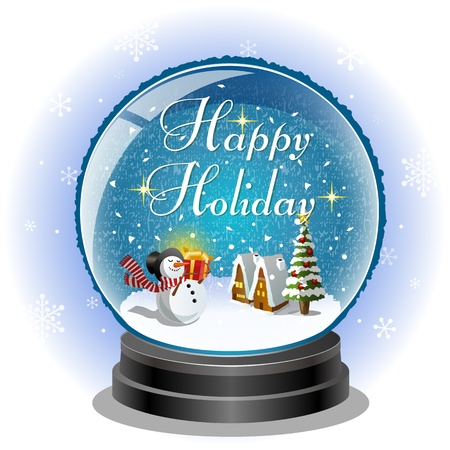 Snowman holding a gift box in snow globe with holiday message. File includes Transparency, Clipping mask. Vector