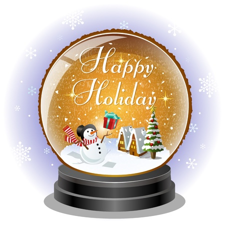 Snowman receiving a christmas gift box in snow globe Vector