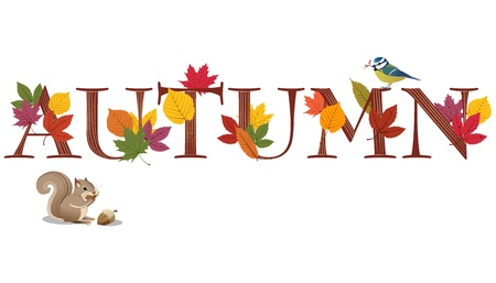 AUTUMN text decorated with leaves, blue bird and squirrel.File contains Gradients, Clipping mask, Transparency. Vector