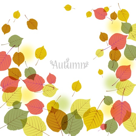 space for images: Flying autumn leaves background with space for text. File contains Clipping mask with un-cropped images (so you can edit the position etc), transparency, Gradient.