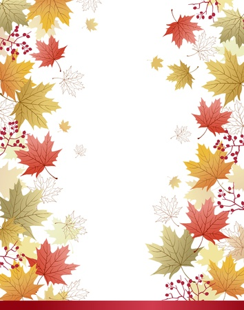 Autumn Maple leaves corner background.File contains Clipping mask with un-cropped images, Gradients, Transparency. Vector