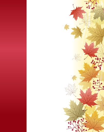Autumn Maple leaves background with red ribbon bar.File contains Clipping mask with un-cropped images, Gradient, Transparency. Vector