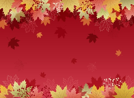 Autumn Maple leaves background.File contains Clipping mask with un-cropped images, Gradient, Transparency. Vector
