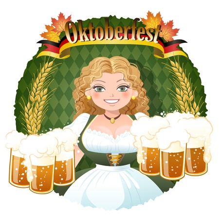 fest: Bavarian Girl serving beer, October fest image.