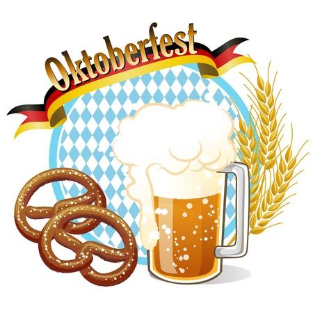 blau weiss: Round Oktoberfest Celebration banner with beer, pretzel,wheat ears.