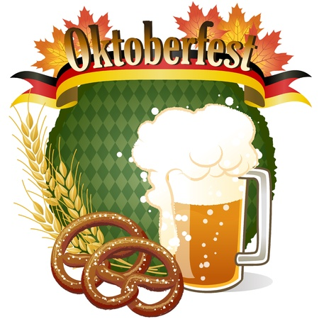 Round Oktoberfest Celebration design with beer and pretzel. Vector