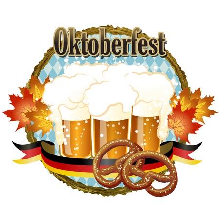 Woody frame Oktoberfest Celebration design with beer and pretzel. Illustration