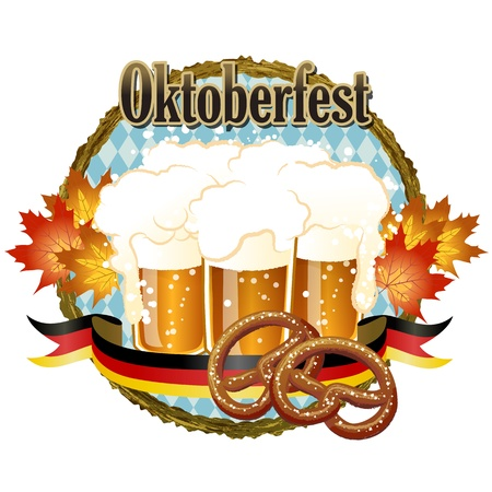 Woody frame Oktoberfest Celebration design with beer and pretzel. Vector