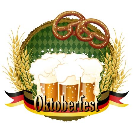 木質フレーム ビールとプレッツェルのオクトーバーフェストのお祝いデザイン。  イラスト・ベクター素材
