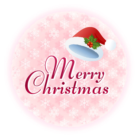 gaussian: Christmas message with Santa hat on snowflake pattern File contains transparency, Gradients, Clipping mask,Gaussian Blur   Illustration