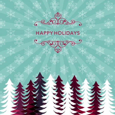 Winter holiday background with snowflake pattern and tree silhouette  File contains Transparency, Gradients, Clipping mask
