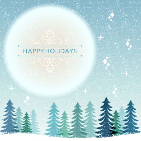 snow field: Christmas holiday background, snow night with blue full moon. File contains Transparency, Gradients, Clipping mask, Blending tool.