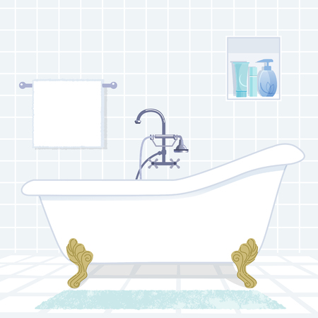 shower head: Bathroom interior with classic style bathtub.File contains Gradients, Clipping mask.