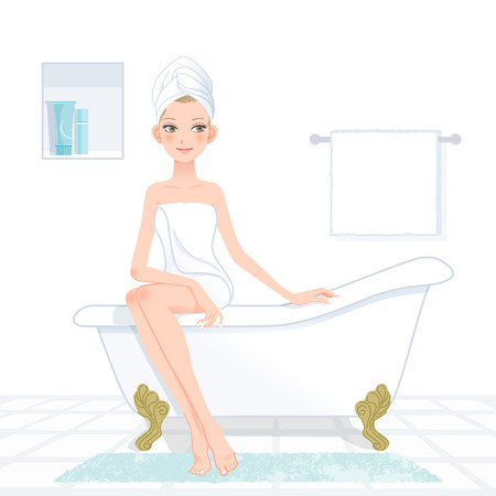 Young attractive woman sitting on a bathtub.File contains Clipping mask,Gradient,Blending tool. Vector