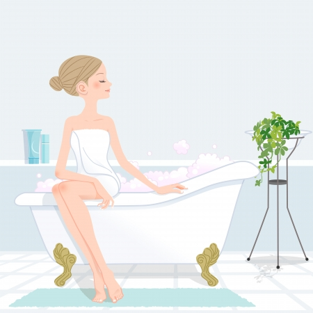 Young beautiful woman with hair bun at bathroom.File contains Clipping mask, Gradients, Blending tool.  イラスト・ベクター素材