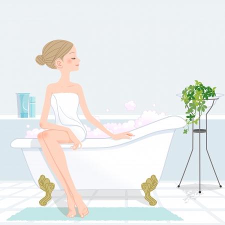 Giovane donna bellissima con i capelli crocchia bathroom.File contiene maschera di ritaglio, sfumature, strumento di miscelazione. Archivio Fotografico - 24756047