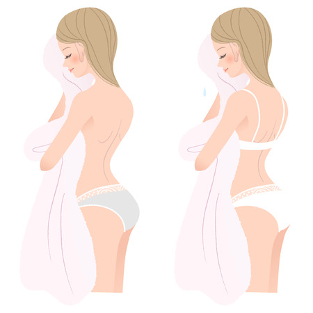 Pretty girl in underwear  toweling after bath File contains Gradients, Blending tool  Vector