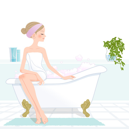 Slim beautiful girl at bathroom with pink bubbled bathtub File contains Clipping mask, Gradients, Blending tool
