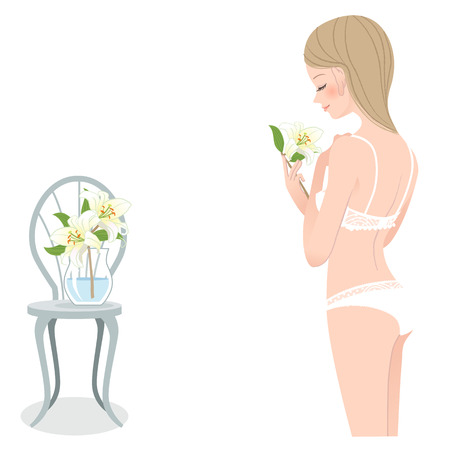 Young pretty girl in under wear enjoying lily scent.File contains Gradients, Blending tool. Vector
