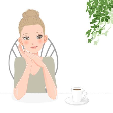 relajado: Bastante joven sonriente y relajada con una taza de caf�. Archivo contiene degradados, M�scara de recorte, herramienta de mezcla. Vectores