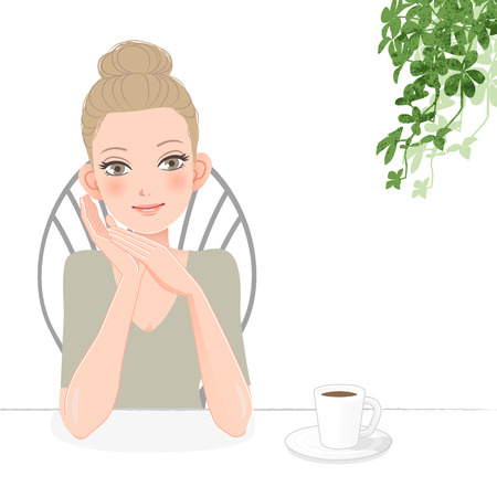 relaxed: Pretty young woman smiling and relaxed with a cup of coffee. File contains Gradients, Clipping mask, Blending tool.