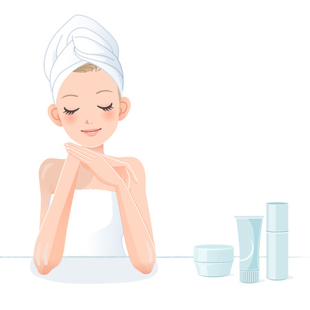 one person only: Beautiful girl in towel applying moisturizing lotion.  Illustration