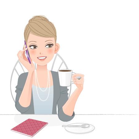 sonrisa hermosa: Hermosa mujer de negocios ejecutivo hablando por tel�fono en la cafeter�a del archivo contiene pendientes, mezcla de herramienta, m�scara de recorte Vectores