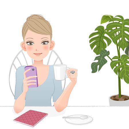 Mujer bonita con el teléfono inteligente el consumo de café archivo contiene pendientes, mezcla de herramienta, máscara de recorte