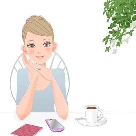 Schattige vrouw die met slimme telefoon en een kopje koffie Bestand bevat verlopen, Blending tool, het knippen van masker