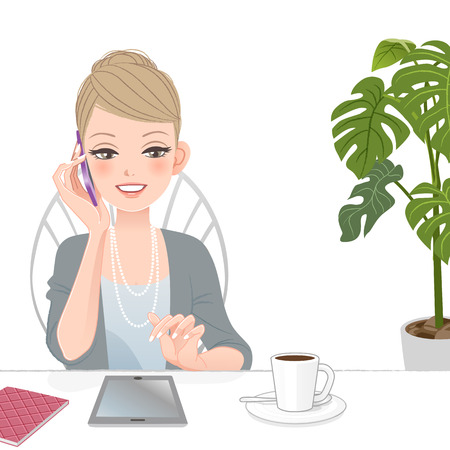 Beautiful executive business woman talking on the phone with touch pad at café   File contains Gradients, Blending tool, Clipping mask  Ilustração