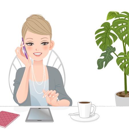 Belle femme d'affaires de parler au téléphone avec pavé tactile au café Le fichier contient des dégradés, Alliant outil, masque de détourage Vecteurs