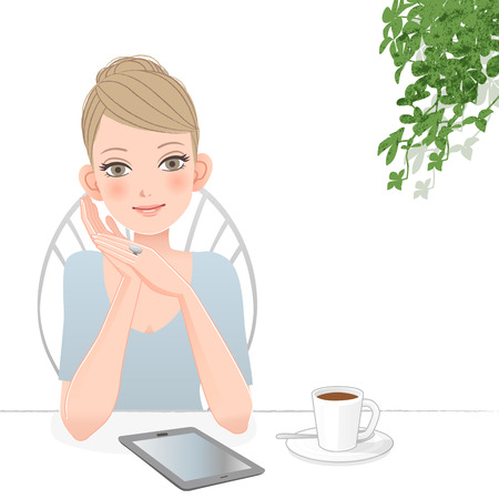 woman tablet: Beautiful woman relaxing with tablet computer at café  File contains Gradients, Blending tool, Clipping mask
