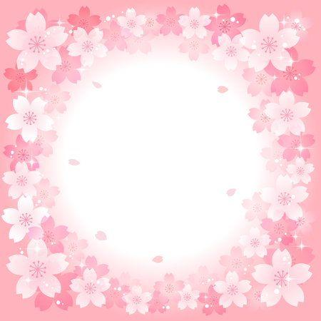 Spring Japanese Sakura Cherry blossoms in Pink. File contains Gradients, Transparent .