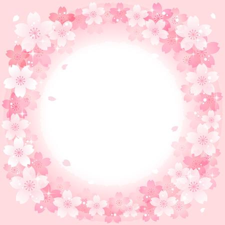 flor de sakura: Rosa de la primavera las flores de cerezo del fondo del círculo. Archivo contiene degradados, Transparente. Vectores