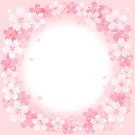 Spring Pink Cherry Blossoms Circle background.  File contains Gradients, Transparent . Vector